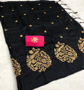 Eye Catching Black Color Tree Print Sana Silk with Fancy Zalar Saree