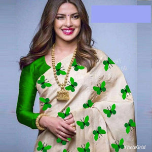 Awesome Cream and Green Color South Silk Saree