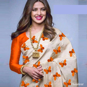 Awesome Cream and Orange Color South Silk Saree