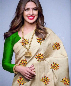 Beautiful Cream and Green Color South Silk Embroidery Work Saree