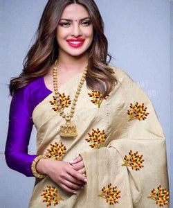 Beautiful Cream and Purple Color South Silk Embroidery Work Saree