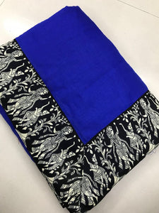 Pretty Blue Color Chanderi Cotton Saree