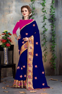 Blue and Pink Color Fancy Chanderi Saree
