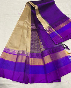 Fancy Blue and Purple Soft Silk Designer Saree