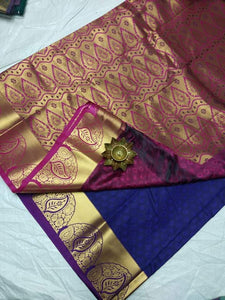 Gorgeous Navy Blue Color Designer Silk Saree