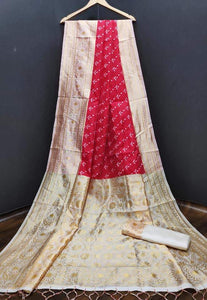 Traditional Cream Color Designer Silk Saree
