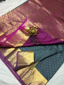 Adhesive Green Color Designer Silk Saree