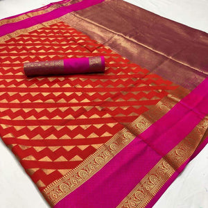Gorgeous Orange Color Designer Silk Saree