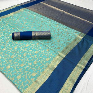 Attractive Sky Blue Color Designer Silk Saree