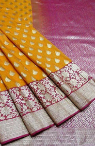 New Look Yellow Color Designer Silk Saree