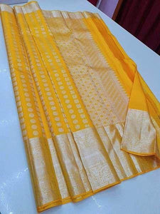 Awesome Yellow Color Designer Silk Saree