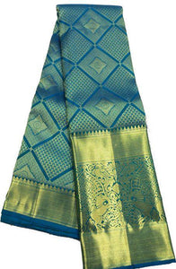 Pretty Teal Color Silk Saree