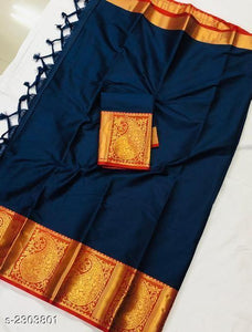 Adhesive Navy Blue and Red Color Silk Designer Saree