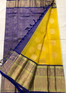 New Arrival Yellow and Blue Color Silk Designer Saree