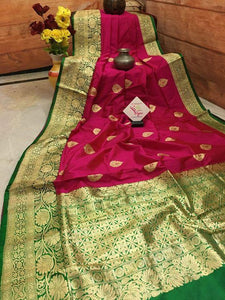 Dashing Red and Green Color Silk Designer Saree