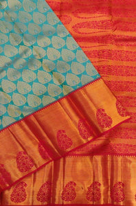 Traditional Sky Blue and Red Color Designer Silk Saree