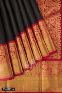 Rich Black Color Designer Silk Saree