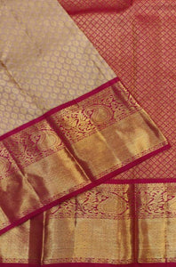 Awesome Beige and Red Color Designer Silk Saree