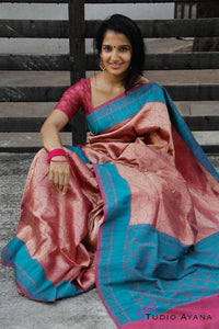 South Indian Pink and Blue Color Soft Silk Designer Saree