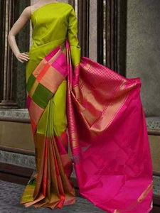 Indian Wear Mehandi and Pink Color Soft Silk Designer Saree