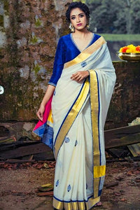 Latest White and Blue Color Designer Soft Silk Saree