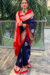 Latest Blue & Red Color Soft Silk Designer Saree