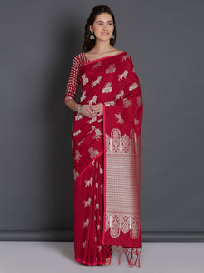 Fabulous Red Color Soft Silk Designer Saree