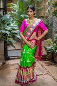 Green and Pink Color Soft Silk Designer Saree