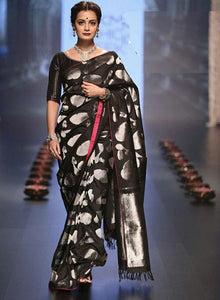 Innovative Black Color Soft Silk Designer Saree