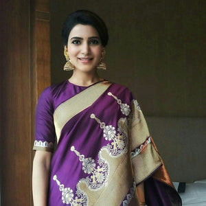 Purple Color Soft Silk Designer Saree