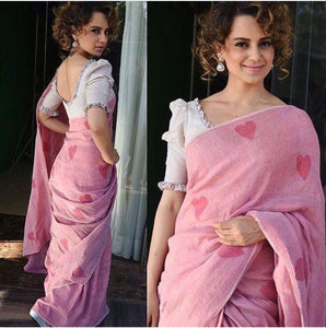 Pretty Pink Color Soft Silk Designer Saree