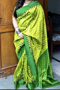 Delightful Parrot Color Soft Silk Designer Saree