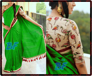 Adorable Green Color Chanderi Cotton Designer Saree