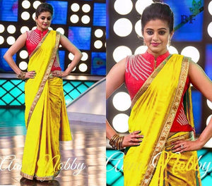 Awesome Yellow Color Chanderi Cotton Saree