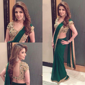 Beautiful Green Color Georgette Saree
