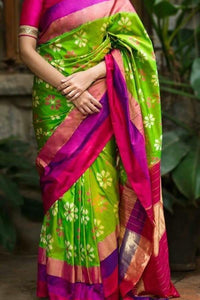 New Parrot Green Color Soft Silk Designer Saree