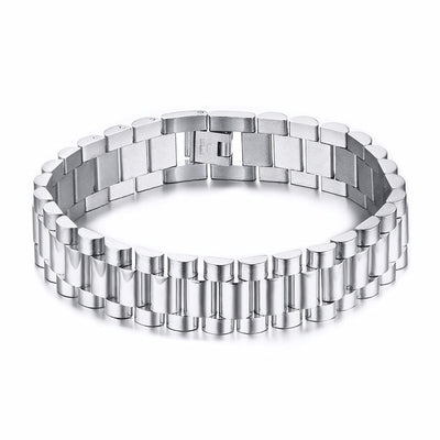 Metal WatchBand Style Solid Stainless Steel Bracelet for Men Link Chain Brackelts Brazalet Male Jewelry Silver Tone