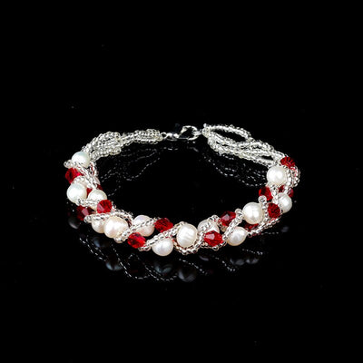 JJIUDUO  Edison shaped baroque pearl bracelet wrinkled skin strong light mixed color large grain 7mm European style female