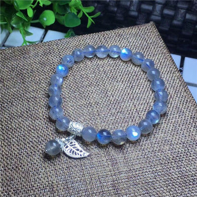 Natural Labradorite Strong Blue Light Beads Bracelet 7 mm AAA 925 SILVER