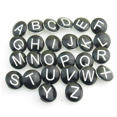 "Wholesale mix Black glass letter ""A-Z"" snap button alphabet snap jewelry for 12mm snap button bracelet 52pcs/lot"