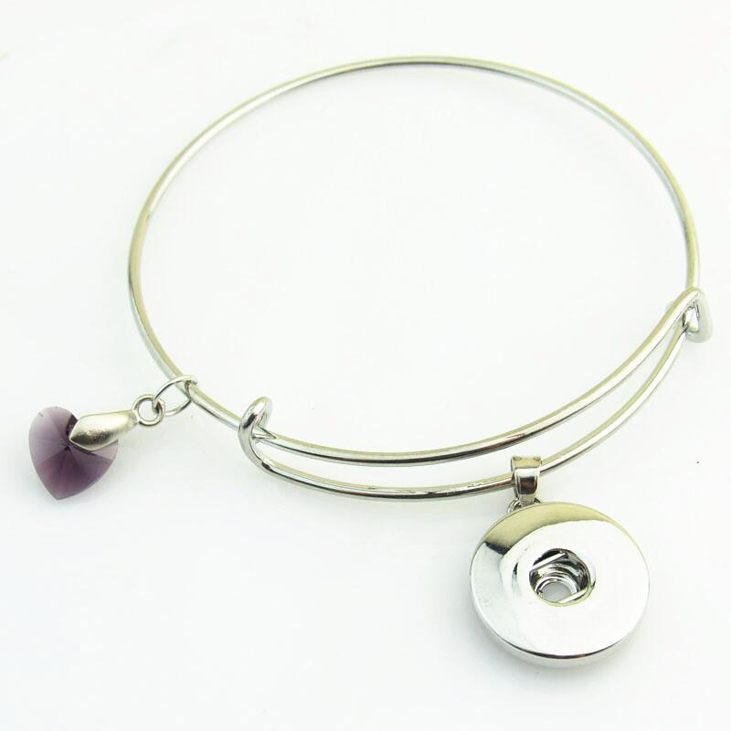 Newest Dark Purple Heart Crystal Snap Button Bracelet/Bangle Fit 18mm DIY Snap Button Jewelry 10pcs/lot