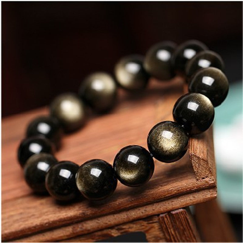 Natural Gold Obsidian Stone Jades Bracelet  Round Beads Bracelet Bangles lovers' Gift for Men Women's  Jades Jewelry