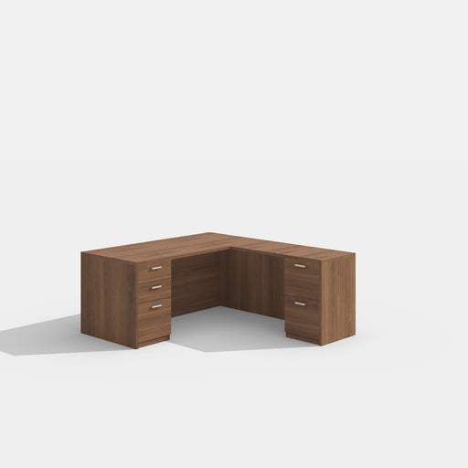 L-shape Desk with drawers that lock See Office Furniture desks, chairs, and more at officefurnitureusa.store.