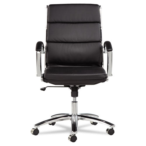 Leather Executive Mid-Back Slim Profile Chair with a Chrome Base See Office Furniture desks, chairs, and more at officefurnitureusa.store.