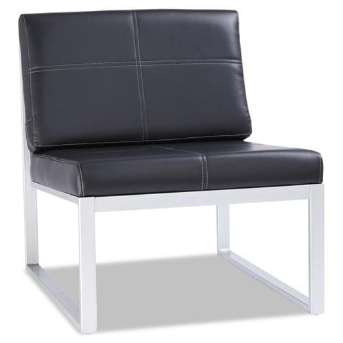 Black Leather Armless Chair with a Silver Metal Base See Office Furniture desks, chairs, and more at officefurnitureusa.store.