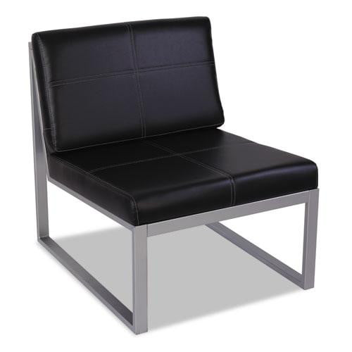 Black Leather Armless Chair with a Silver Metal Base