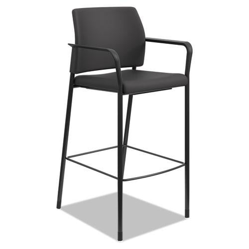Black Café Style Stool See Office Furniture desks, chairs, and more at officefurnitureusa.store.