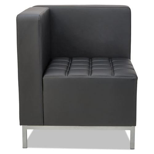 Black Corner Sectional with Silver Steel Frame See Office Furniture desks, chairs, and more at officefurnitureusa.store.