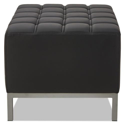 Big Thick Black Leather Ottoman - Office Furniture USA