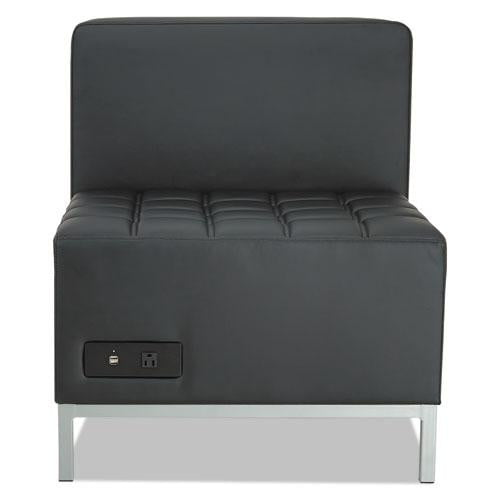 Black Armless Sectional with Power and USB Plugin See Office Furniture desks, chairs, and more at officefurnitureusa.store.